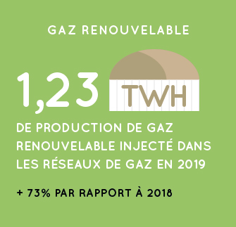 Production de gaz renouvelable en 2019